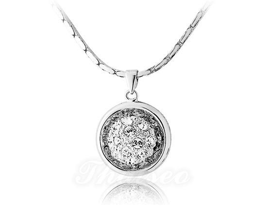 Halsketten für damen  Halskette Damen mit Ballanhänger - weissgold legiert - feingliedrig