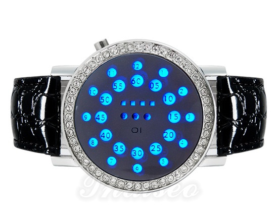 stihlvolle led luxusuhr herren kristalle eingearbeitet blaues licht schwarzes lederarmband. Black Bedroom Furniture Sets. Home Design Ideas